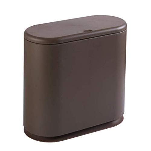 NJIUHB Prullenbak, eenvoudig ovaal, met deksel, slanke vuilnisbak, met twee vakken voor keuken, slaapkamer, smal, woonkamer, kamer, badkamer, kantoor