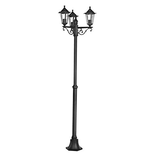 EGLO Außen-Stehlampe Laterna 4, 3 flammige Außenleuchte, Stehleuchte aus Aluguss und Glas, Farbe: Schwarz, Fassung: E27, IP44