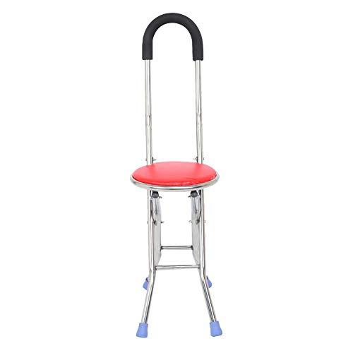 Taburete de cuatro patas con muleta plegable Asiento de bastón plegable para ancianos Bastón de muleta Asiento de silla Bastón para caminar Silla para bastón