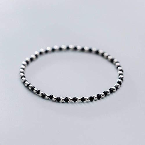 Thumby Damen Dekorative Armband S925 Silber Armband Weibliche Koreanische Mode Elastische Seil Licht Perlen Schwarzen Spinell HandschmuckSilberkette