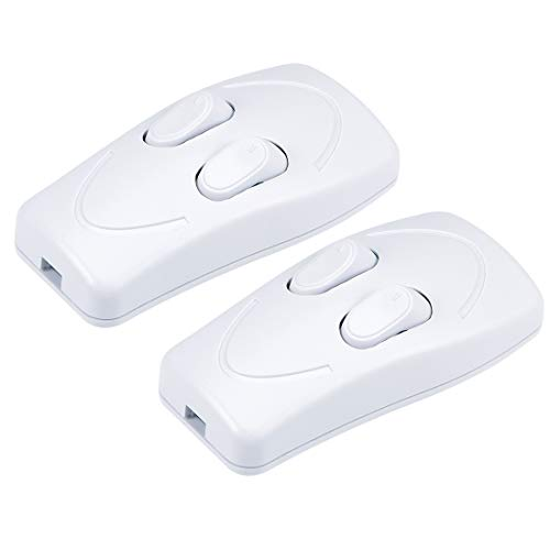 uxcell Inline Cord Switch AC 250V 1A Duplex On-Off Feed-Through Rocker Switch for Bedroom Table Lamp Desk Light, White (Pack of 2)