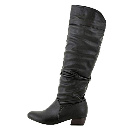 Women's Winter Knee High Boots - Fashion Party Sexy Thigh High Tube Flat Heels Ruched Riding Long Boots (Black, US:11)