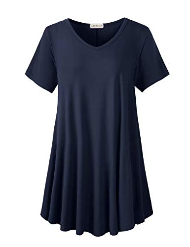 LARACE Tunics Short Sleeve Plus Size Casual Tops for Women V Neck Loose Fit Flowy Clothing for Leggings(Navy Blue 3X)