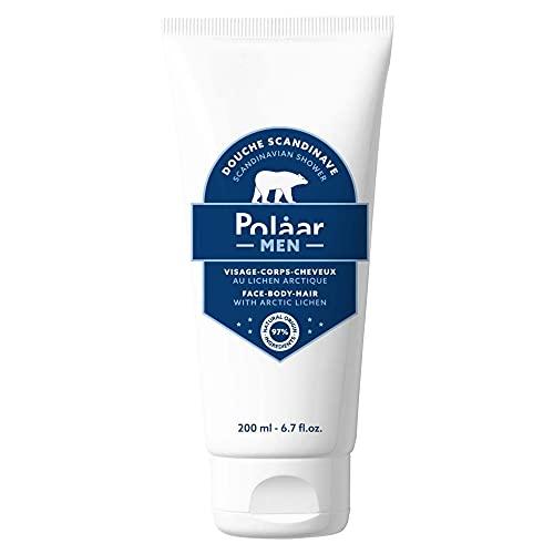 Polåar Men - Ducha escandinava, Gel de ducha para rostro, cuerpo y cabello con Liquen Ártico - 200 ml - Gel de Baño - Tratamiento de limpieza hombres 3 en 1-97% natural, Hecho en Francia, Vegano