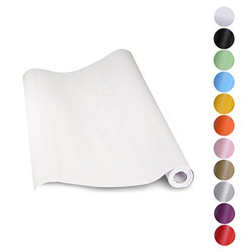 KINLO papel de cocina Blanco 60x500cm de PVC adhesivo para armario cocina papel adhesivo para muebles papel impermeable autoadhesivo para armario de cocina papel decorativo CON BRILLO