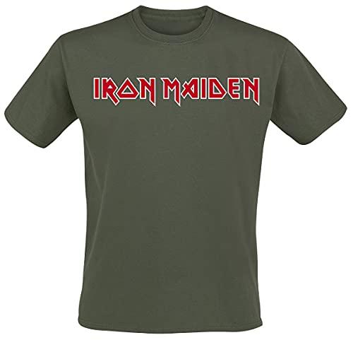 Iron Maiden Logo Männer T-Shirt Khaki L 100% Baumwolle Band-Merch, Bands