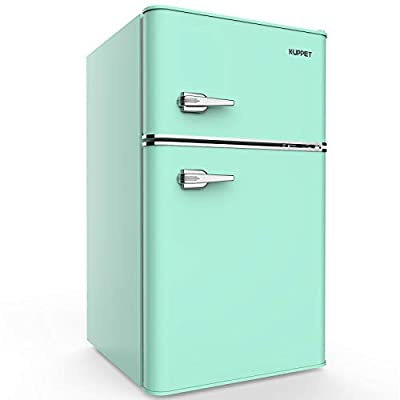 KUPPET Retro Mini Refrigerator 2-Door Compact Refrigerator for Dorm, Garage, Camper, Basement or Office, 3.2 Cu.Ft(Green)