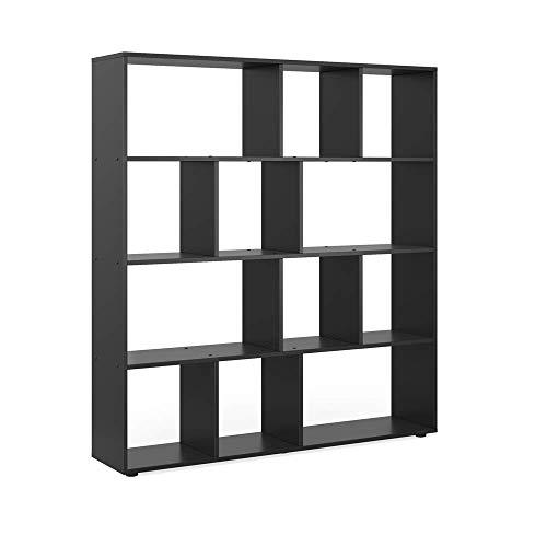 Vicco Raumteiler Pilar 12 Fächer - Raumtrenner Bücherregal Standregal 131,6 x 143 x 29 cm (BxHxT), Spanplatte Aktenregal (Schwarz)