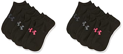 Under Armour Women's Essential NS, komfortable, nahtlose Sportsocken, atmungsaktive kurze Socken Damen, Black / Black / Cerise , M