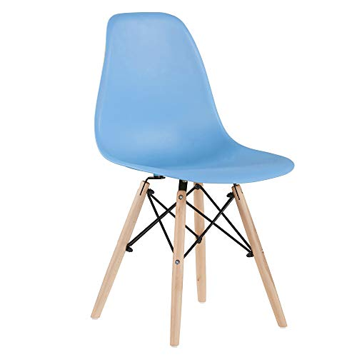 Merax Modern Living Dining Room Chairs with Wood Legs for Kitchen or Bedroom, Shell Lounge Plastic Side, Blue Set of 1