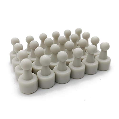 USKYMAG 24 Solid Magnetic Push Pins, Pawn Style-Perfect Magnetic Pushpins for Fridges, Maps, Whiteboards, Cabinets (White)