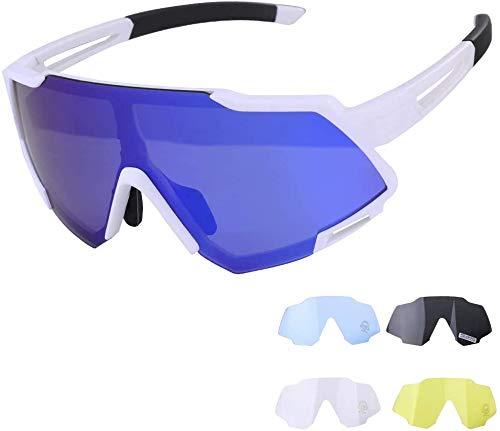 GARDOM Gafas de Ciclismo Hombres Mujeres, Gafas de Sol Deportivas con 5 Lentes Intercambiable para Correr Pescar Escalar Esquiar Vacaciones (Azul-Blanco)