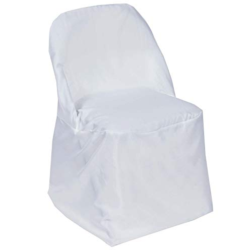 Efavormart 50pcs White Round Premium Polyester Folding Chair Cover for Wedding Party Event Banquet Catering