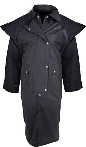Acerugs New Outback Black Western Oilskin Waterproof Australian Duster Coat (Large)