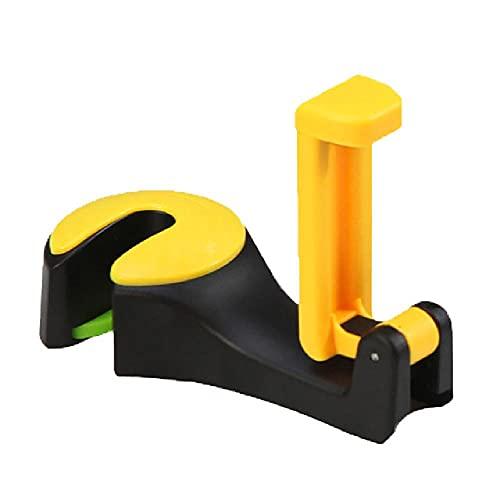 Gancho para reposacabezas de coche 2 en 1 con soporte para teléfono, colgador para el respaldo del asiento para bolso, bolso, bolso, tela para comestibles, organizador de clips plegables
