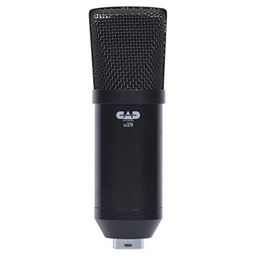CAD Audio U29 USB Großmembran-Kondensatormikrofon (Charakteristik: Niere, 20 Hz - 20 kHz, integrierter A/D-Wandler, für MAC oder PC, inkl.: USB-Kabel, Windschutz, Klemme und Tischstativ), Schwarz