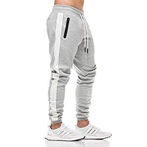 FUSHI&MON スウェットパンツ メンズ ジョガー トレーニング ジム フィットネス パンツ 綿 ジャージ スリム 細身 無地 スリム (XL, 1-グレー)