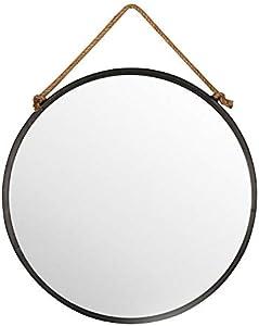 Delamaison Miroir Mural Rond en métal Noir Suspendu par Une Corde D.70cm TALI