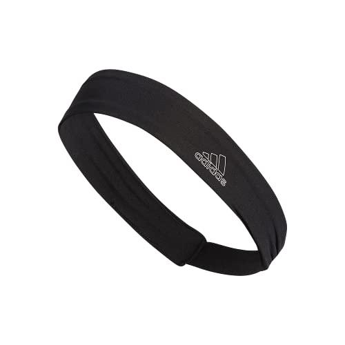 adidas Alphaskin Elastic Headband, Black/White, One Size