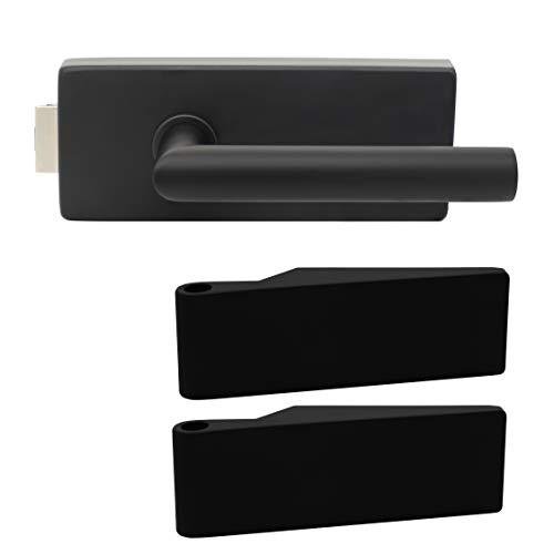 Premium Glastürbeschlag Q3 UV   inkl. Studiobändern   Schwarz matt Elektrophoresebeschichtung   New Orleans