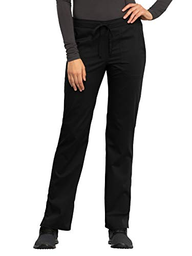 Cherokee Workwear Revolution WW005 Women's Mid Rise Straight Leg Drawstring Pant, Black, Medium