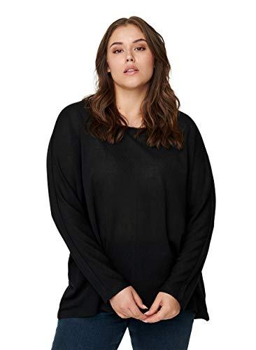 Zizzi Damen Große Größen Bluse runder Ausschnitt Einfarbig Schwarz Gr 50-52
