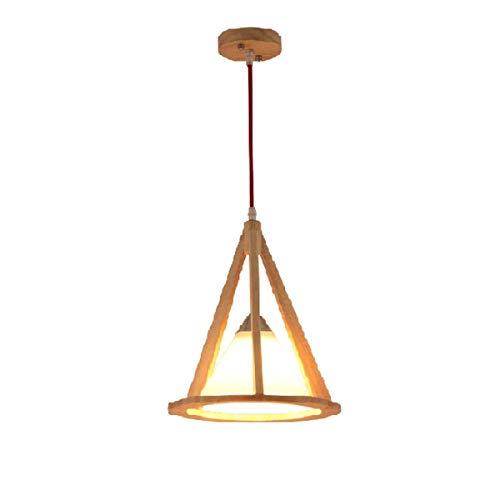 Hai Ying Moderne hanglamp met één kop van massief hout in enkele kop, kroonluchter van hout met LED-lantaarn voor eetkamer, slaapkamer, decoratieve verlichting E27 110 V 220 V