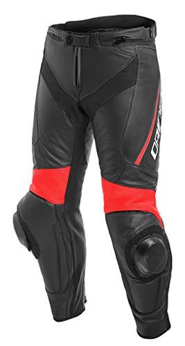 Dainese, Delta 3, leren broek, zwart/zwart/fluo-rood, maat 56