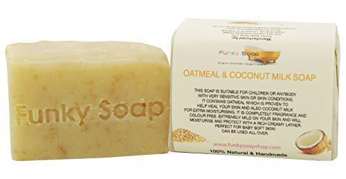 Funky Soap Coco Lait & Avoine, Savon sans Parfum, 100% Naturel Main, 1 Barre de 120g