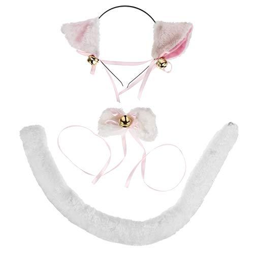 FOMIYES 1 Set Accesorios de Disfraz de Gato Vestido de Fantasa Orejas de Gato Banda para El Pelo Pajarita Cola Cosplay Accesorios de Rendimiento Gato Disfraz de Cosplay (Blanco)
