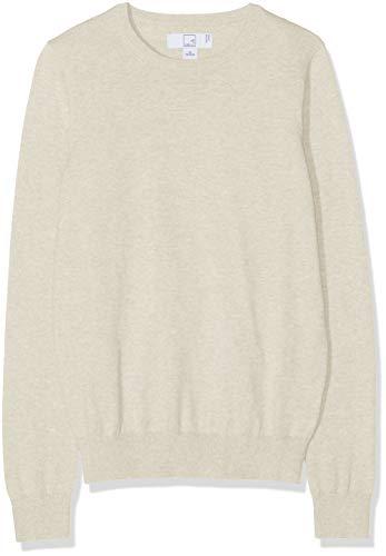 Amazon-Marke: MERAKI Baumwoll-Pullover Damen mit Rundhals, Beige (Linen), 36, Label: S