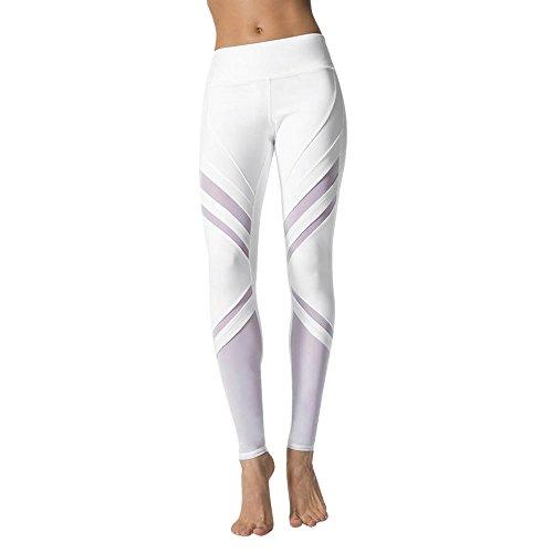 MORCHAN ❤ Femmes Taille Haute Sport Gym Yoga Course à Pied Fitness Jambières Pantalon Pantalon de Sport(Small,Blanc)