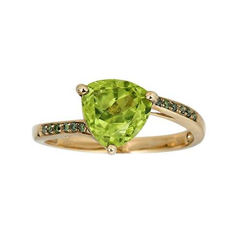 Gin & Grace 10K Amarillo Oro diamante natural (I1, I2) y billones genuino Peridot Eternidad Proponer Promise Ring para la Mujer