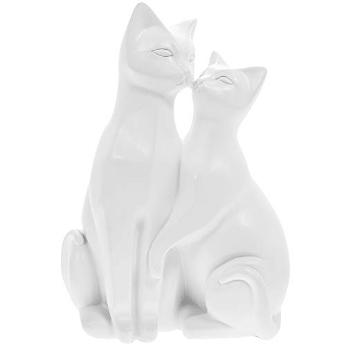 Mr & Mrs Cat Ornament | Pair of Stylized Cats Figurine For Cat Lovers (White)