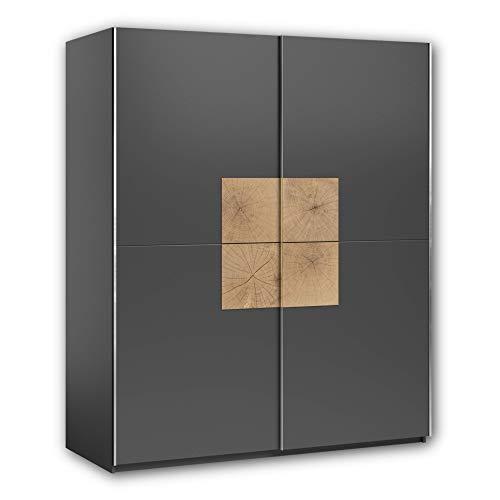 Stella Trading Joos-Armadio Moderno con Ante scorrevoli, Molto spazioso, in Grafite con Ripiani in Legno di Cervo, 170 x 195 x 59 cm (Larghezza x Altezza x profondità), Materiale a Base