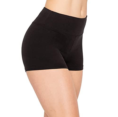 ALWAYS Women Workout Yoga Shorts - Premium Buttery Soft Solid Stretch Cheerleader Running Dance Volleyball Short Pants Black M