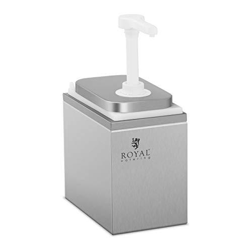 Royal Catering Dispensador De Salsas Dosificador Para Mostaza Kétchup RCDI-2L (Acero inoxidable/PP, Volumen total: 2 L, 2 dosificadores, 2 x 1 L)