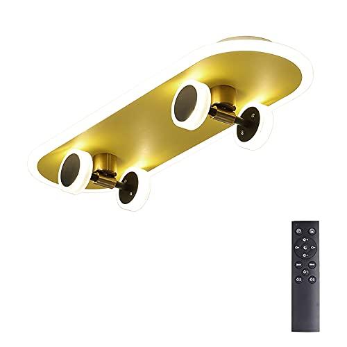 Kinder LED Deckenlampe Dimmbar Fernbedienung, Kinderzimmer Lampen Decke Deko, Deckenleuchte für Junge, Skateboard Kinderlampe Modern Design Lampenschirm aus Acryl