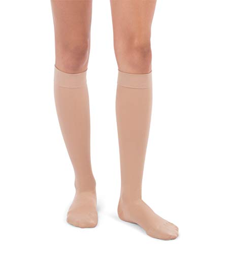 Jomi Compression Knee High Collection, 30-40mmHg Premiere Closed Toe 320 (Small, Beige)