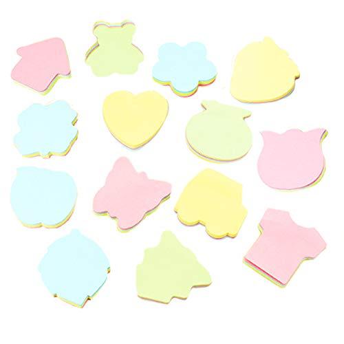 【Rurumi】パステル カラー 4色 付箋 10種類 13種類 × 100枚 セット かわいい ハート 星 りんご くま 車 Tシャツ 型 (10種 セット)