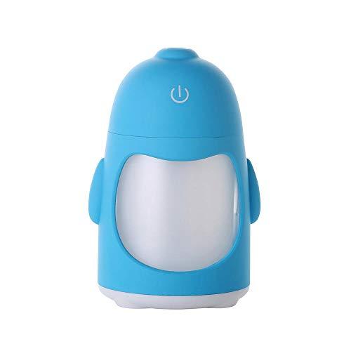 HDFIER luchtbevochtigers voor slaapkamer warme mist Waterloze Auto Shut-off luchtbevochtigers, voor Thuis, Yoga, Kantoor, Spa, Slaapkamer, Babykamer Pinguïn nachtlampje mini usb mute blauw