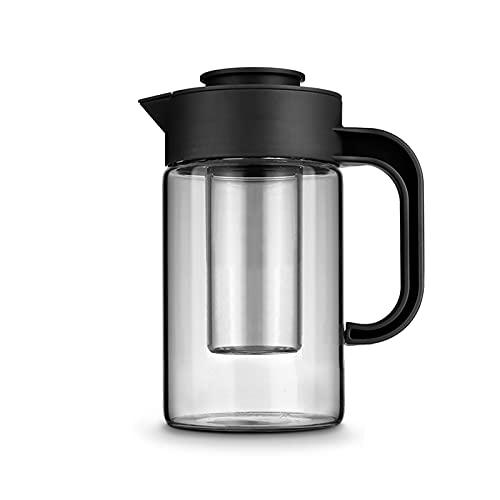 ZHANGJINYISHOP2016 Jarra Agua Hervidor de Vidrio para el hogar con Cubierta de Polvo y manija Lanza Alta Resistente a Temperatura para Jugo, Bebida, café Helado, té. Jarra para Bebidas
