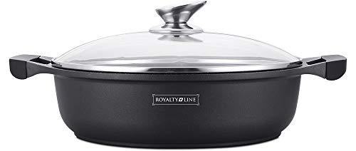 Royalty Line - RL-BR28M - Faitout Bas avec Revêtement Marbre, Couvercle en verre, Induction, 4 Litres, 28 cm, Noir