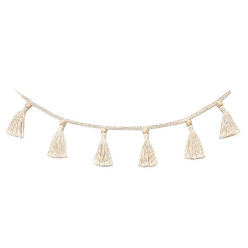 iFCOW Cotton Tassel Garland Banner Macrame Woven Tassel Basket Decorative Wall Hangings for Home Decoration