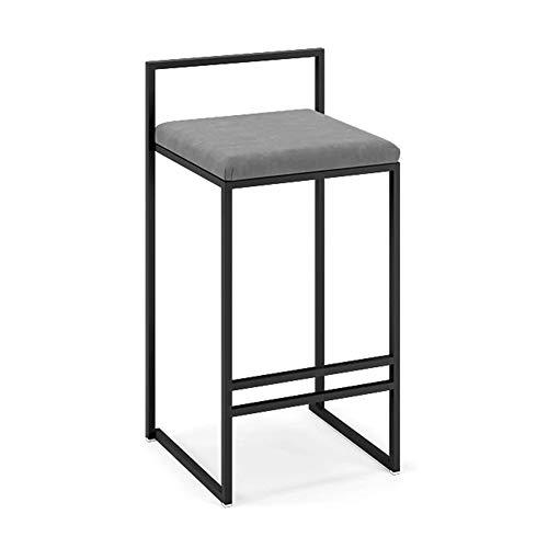 ZTCWS Moderne barkruk Nordic kruk hoge stoel eetkamerstoel stof velvet kussen zitting barkruk smeedijzeren stoel, met metalen voet in zwart