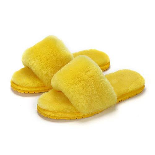Zquest Zapatillas cómodas de Felpa para Mujer, Zapatillas Casuales-Yellow_38