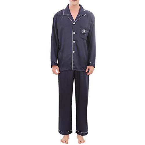 MRULIC Valentinstag Schlafanzug Sets Herren Pyjamas Sets Lässige Frühling Einfarbig Lange Ärmel Komfortable Heim Nachtwäsche Nachthemd(Blau,EU-XL/CN-2XL)