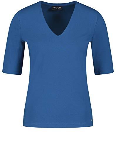 Taifun Damen Basic-Shirt mit V-Ausschnitt figurbetont Blue Lagoon 40