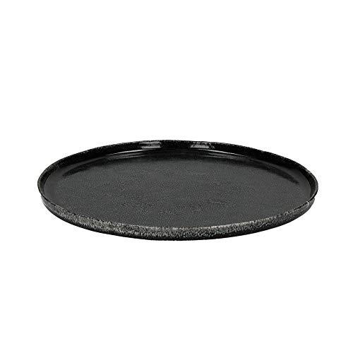 Servierplatte Teller Experience aus Steingut mit mattschwarzer Glasur Ø 30 cm