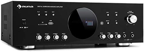 AUNA AMP-218 BT - Amplificateur Surround numérique 5.1, Bluetooth, entrée AUX pour lecteurs CD/DVD, USB, Lecteur SD, 5 Sorties d'enceinte:2 x 120 Watts RMS et 3 x 50 Watts RMS, Noir